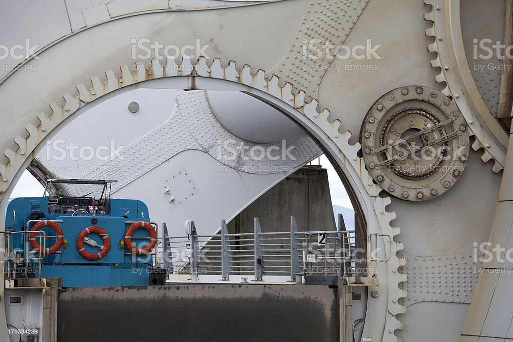 Boat carried in Gondola of the Falkirk Wheel stock photo