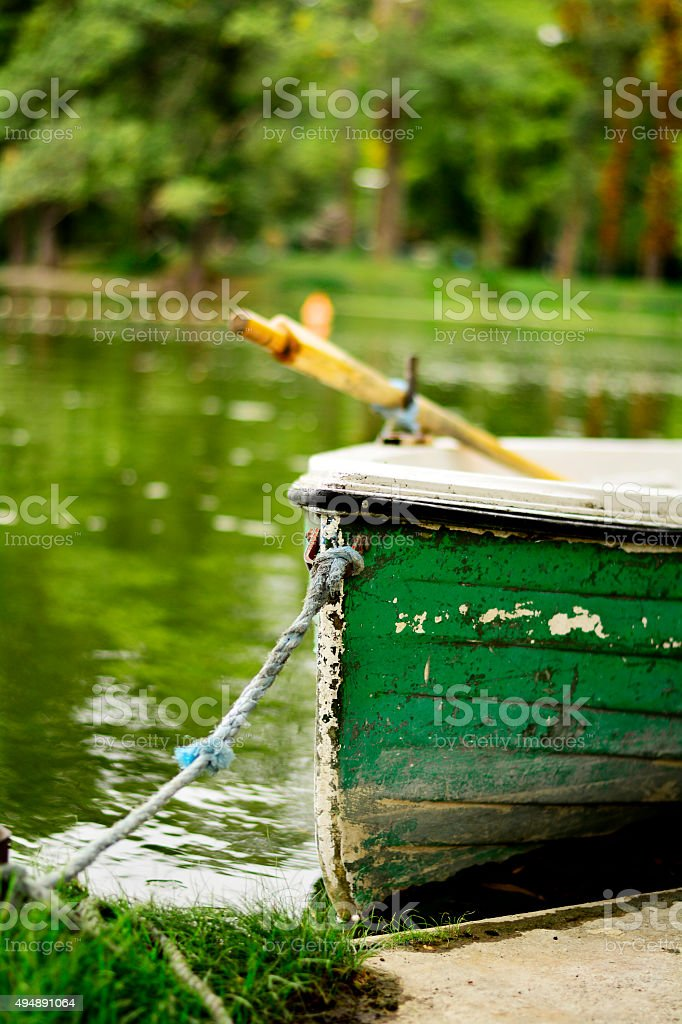 boat caught with a rope stock photo