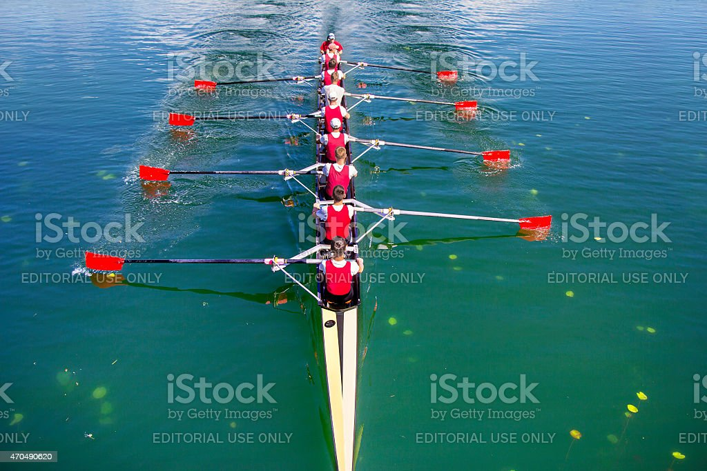 Boat coxed eight Rowers rowing stock photo