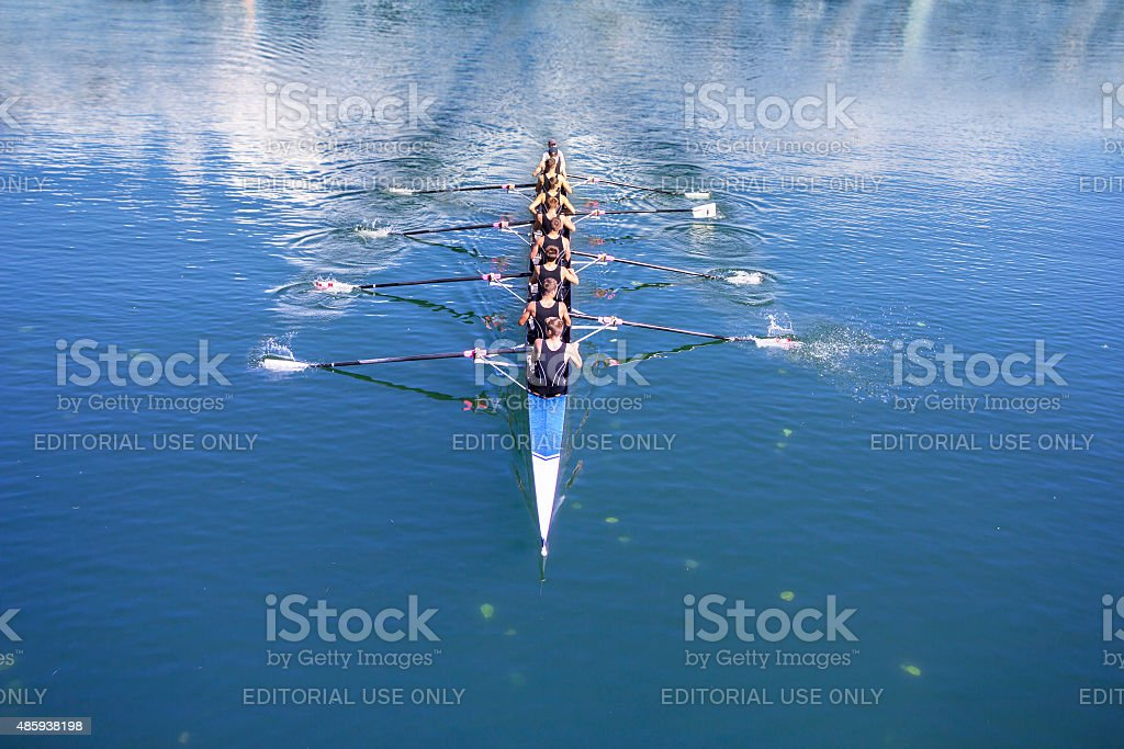 Boat coxed with eight Rowers stock photo