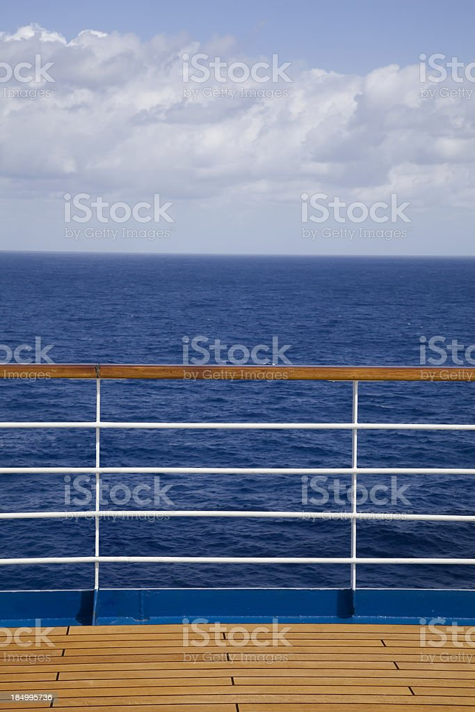 Boat deck and railing stock photo