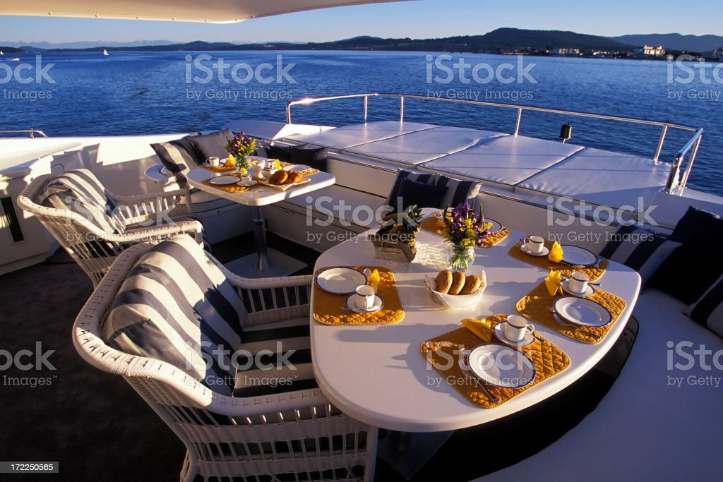 boat deck luxury motor yacht stock photo
