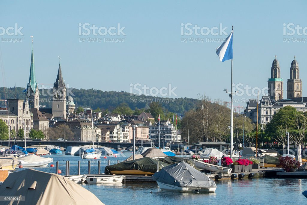 boat dock in zurich, switzerland stock photo