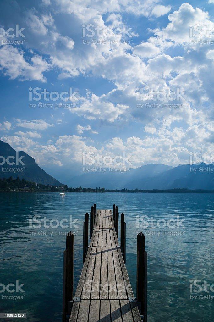 Boat dock Lake Geneva stock photo