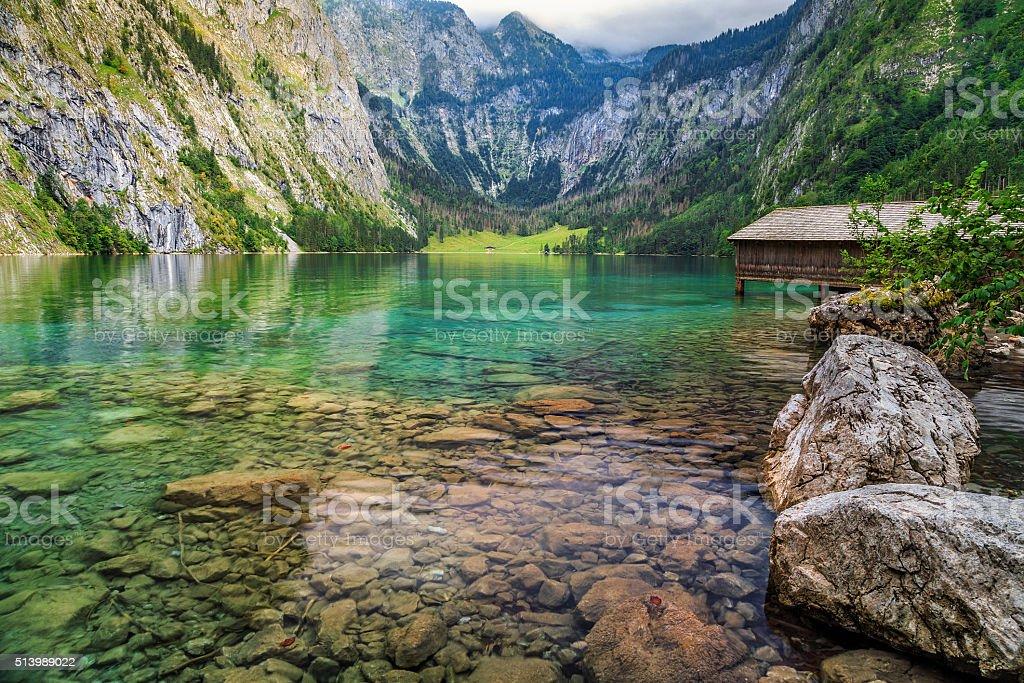 Boat dock on Obersee alpine lake,Berchtesgaden,Bavaria,Germany,Europe stock photo