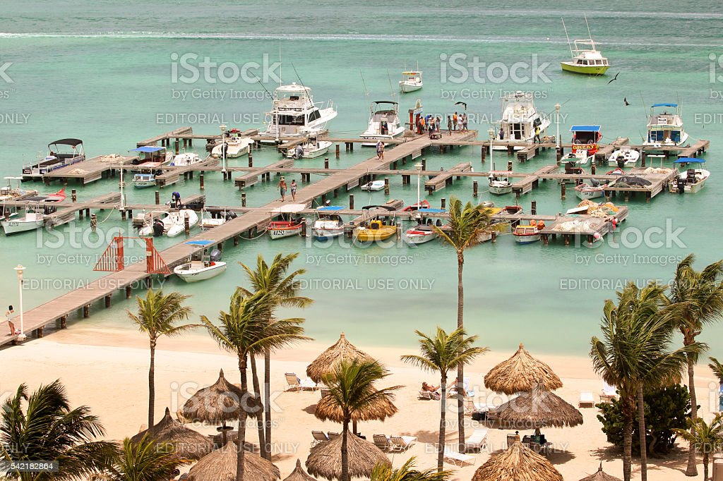 Boat dock on the beach in Aruba stock photo