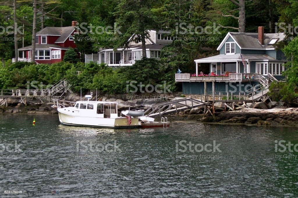 Boat Docked at Home stock photo