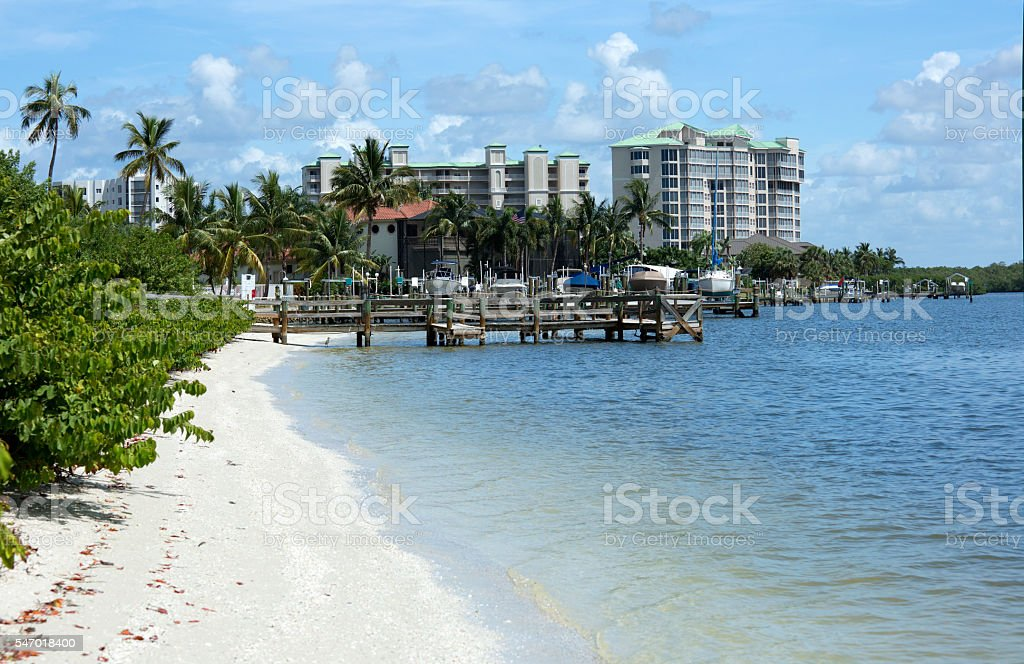 Boat docks and condos on Fort Myers Beach, Florida, USA stock photo