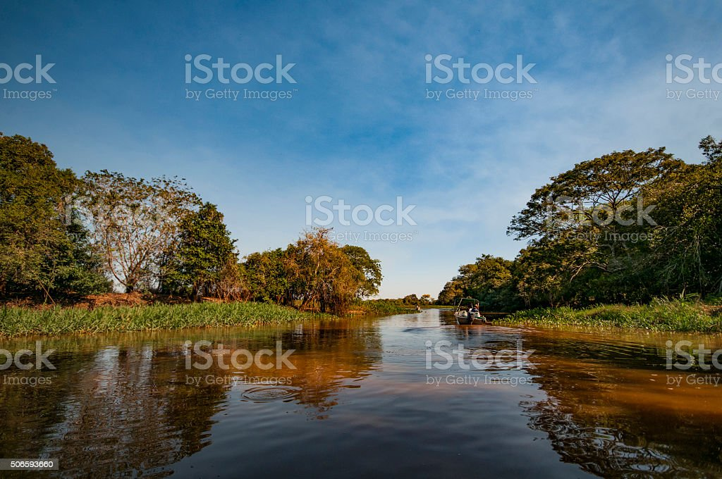 boat drivers on the Rio Negro stock photo