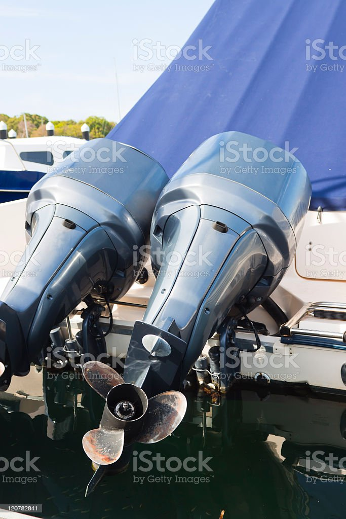 Boat engine with propeller stock photo