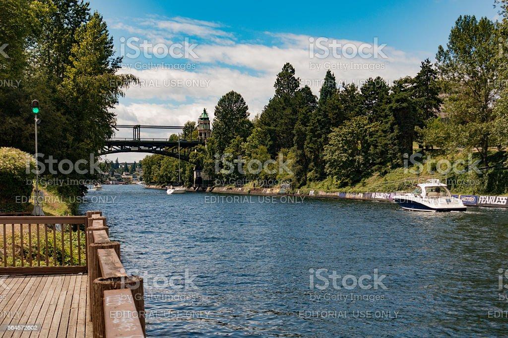 Boat Enters Montlake Cut Lake Washington Ship Canal Trail stock photo