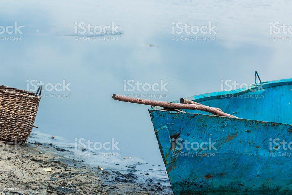 Boat fishing on the lake, Creel stock photo