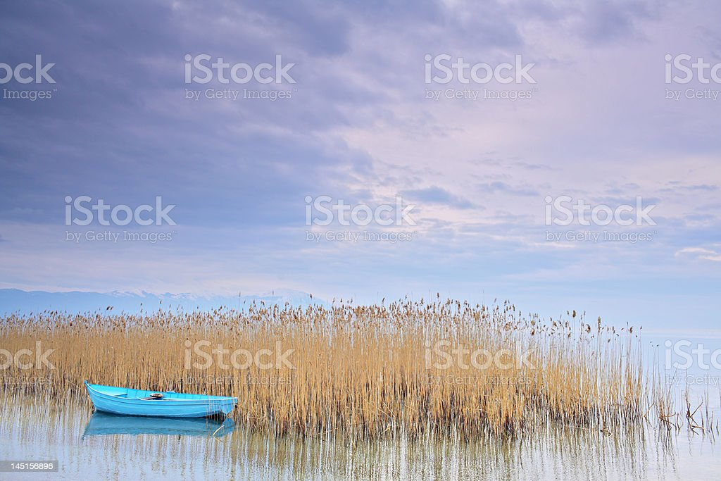 Boat floating on a Ohrid lake royalty-free stock photo