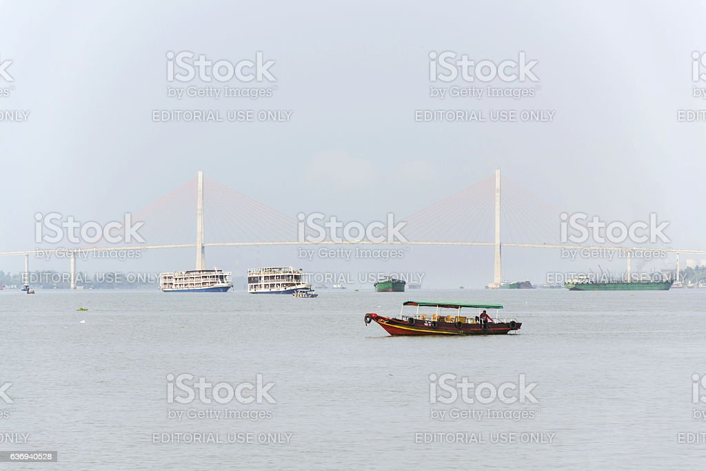 Boat  floating on Mekong in My Tho, Vietnam stock photo