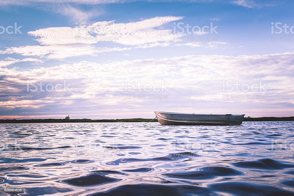 Boat floating stock photo