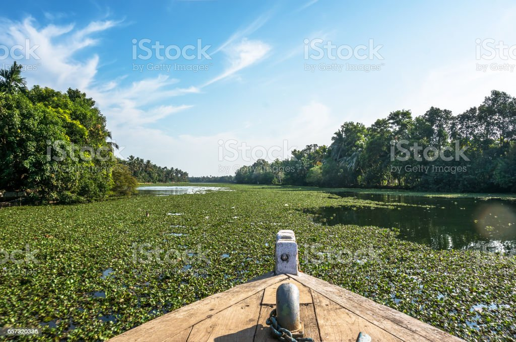 Boat floats on the river. the view from the boat on her nose. stock photo