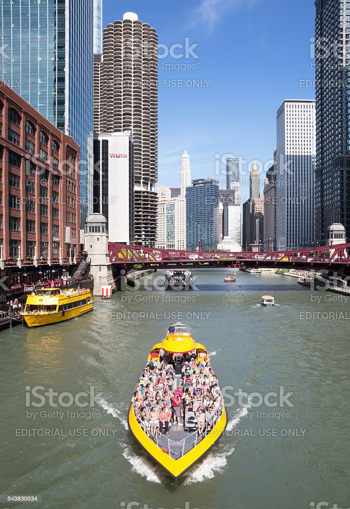 Boat for tourists on Chicago river stock photo