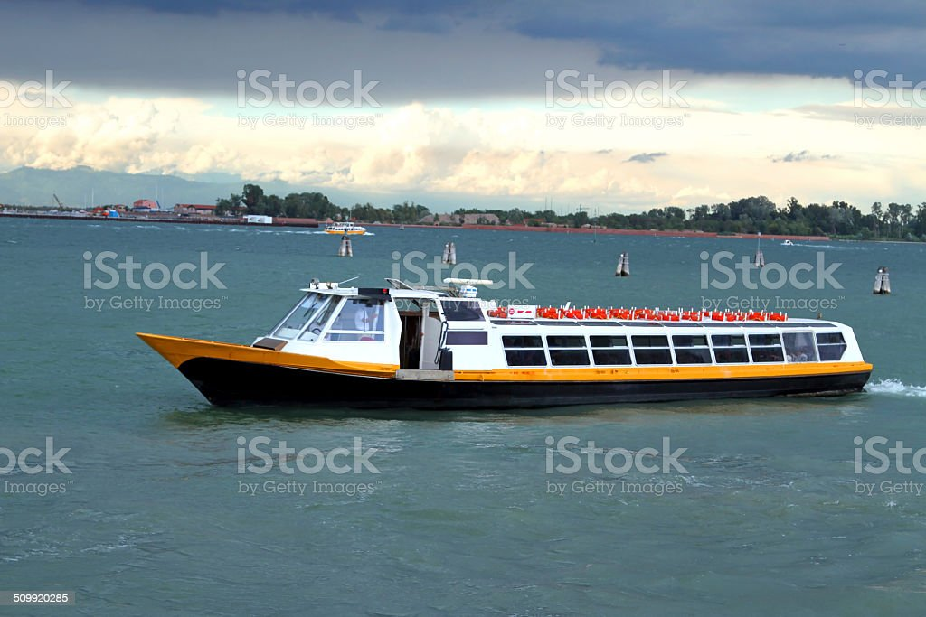 boat for transporting passengers and tourists stock photo