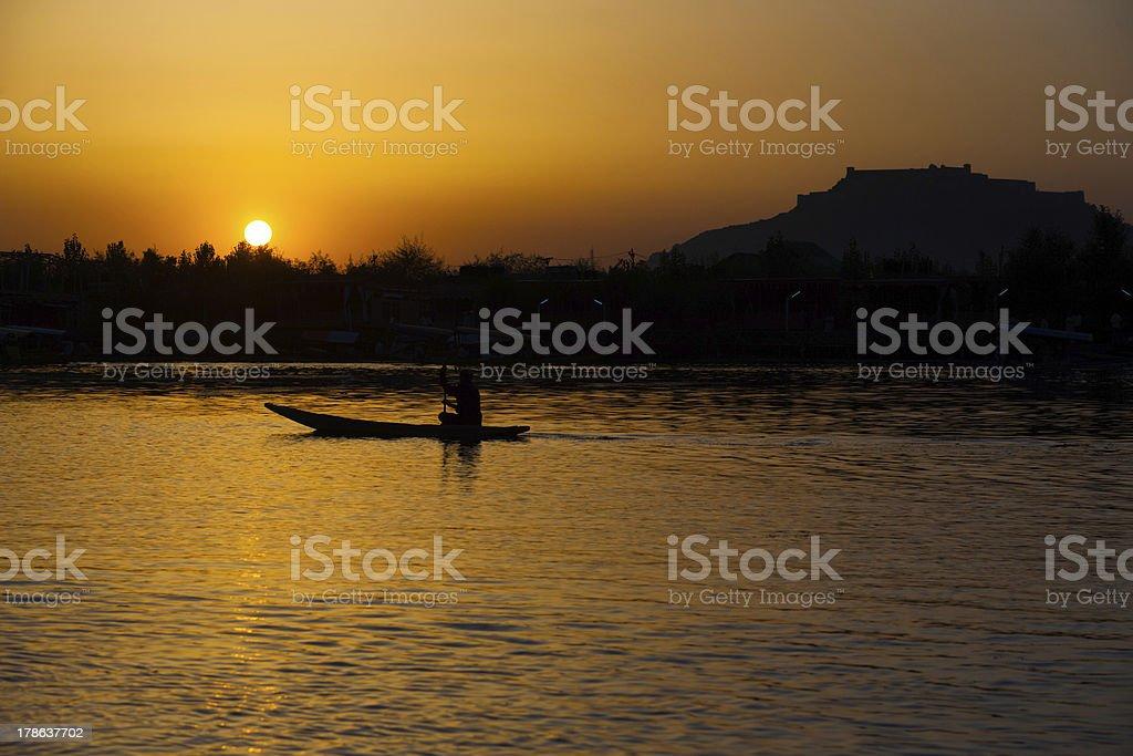 Boat Fort Sunset Dal Lake Srinagar Kashmir India royalty-free stock photo