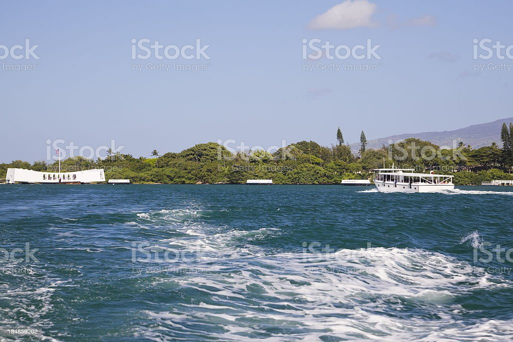 Boat going to USS Arizona Memorial, Pearl Harbor, Hawaii stock photo