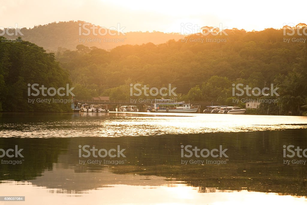 Boat habor and sunlight in morning stock photo