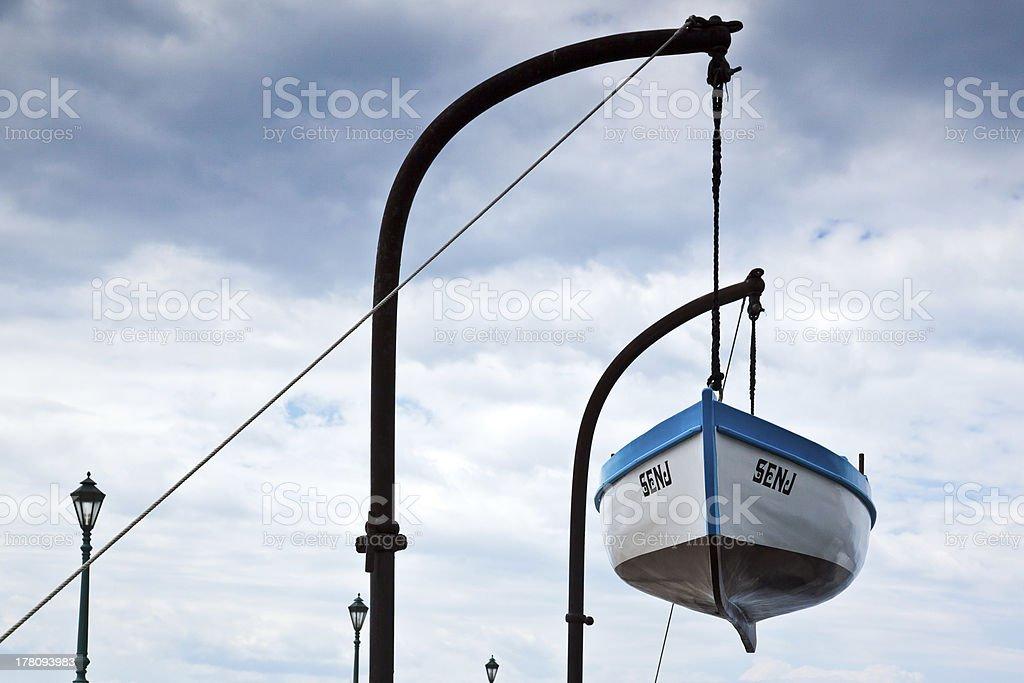 Boat hanging in Senj stock photo