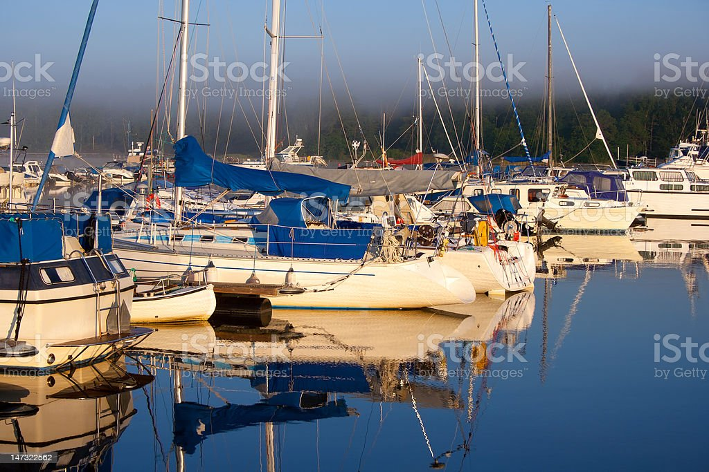 Boat harbor in foggy summer morning royalty-free stock photo