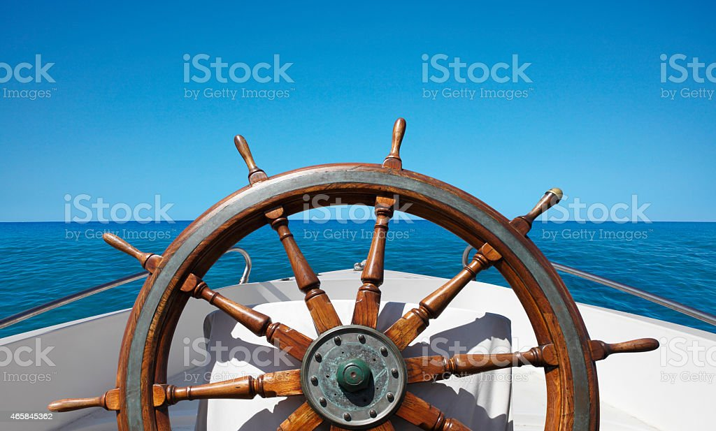 Boat helm on the sea stock photo