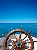 Boat helm on the sea