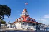 Boat house at Coronado Island, California