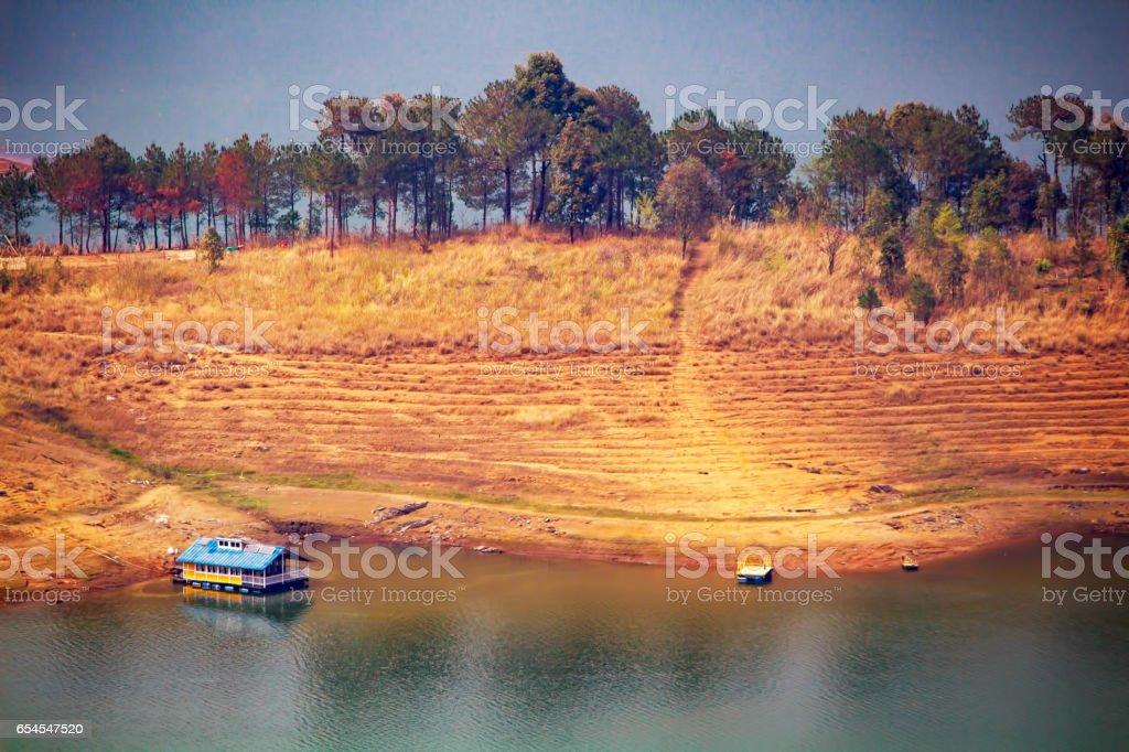 Boat house at Umiam lake stock photo