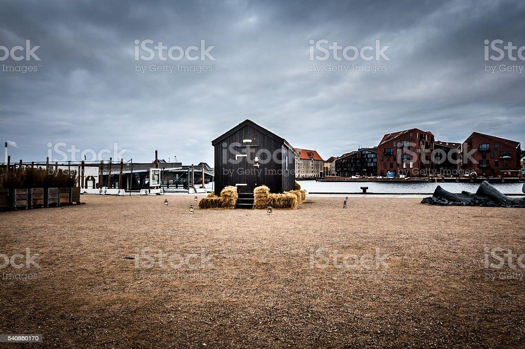 Boat house in Danmark stock photo