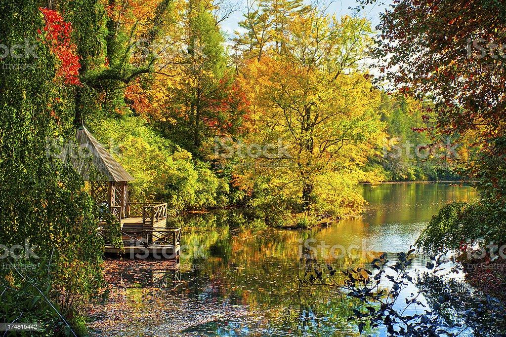 Boat house in the fall, Asheville, North Carolina, USA stock photo