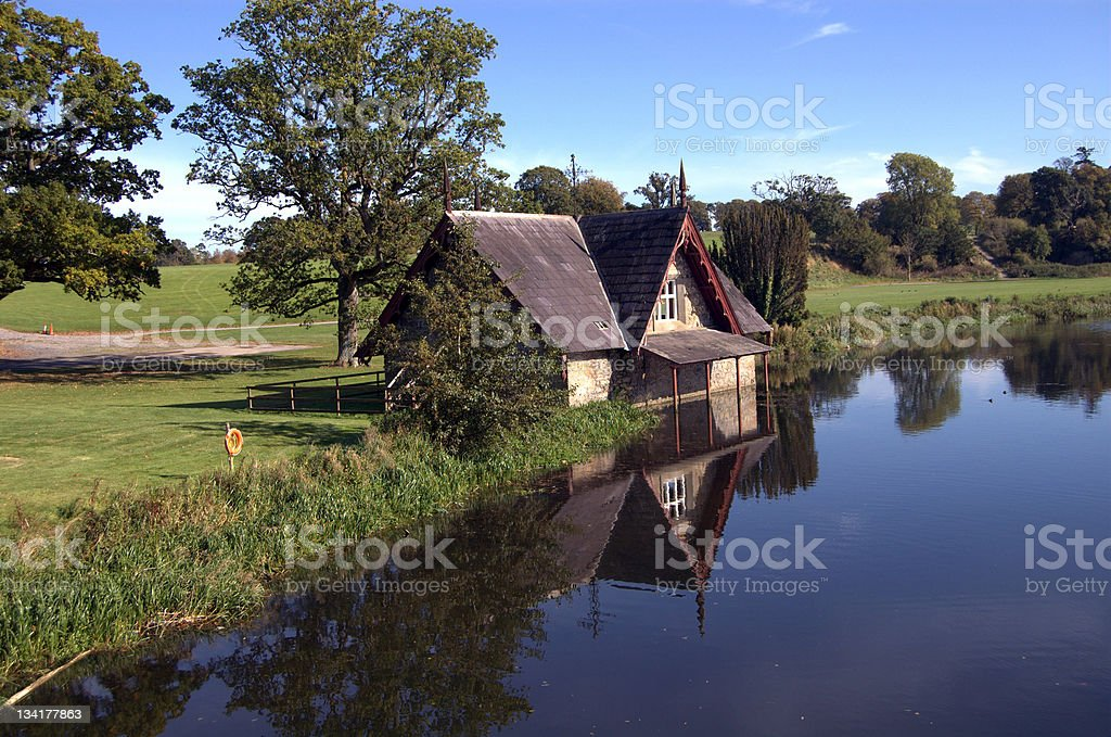 boat house on a golf course royalty-free stock photo