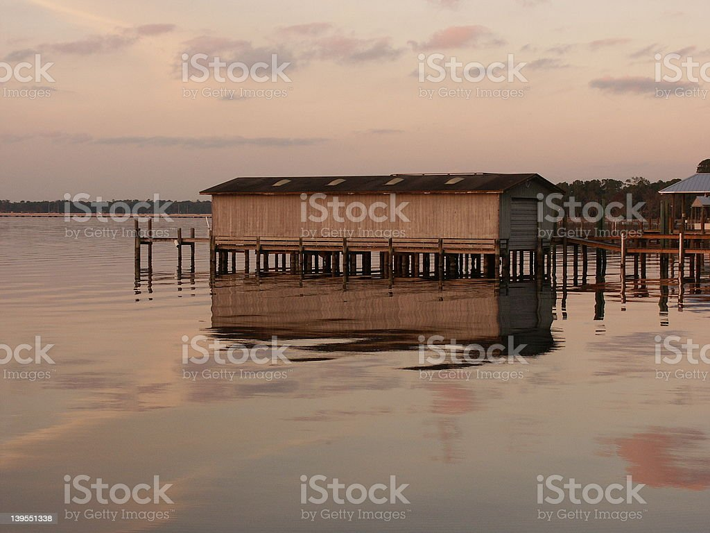 boat house on river stock photo