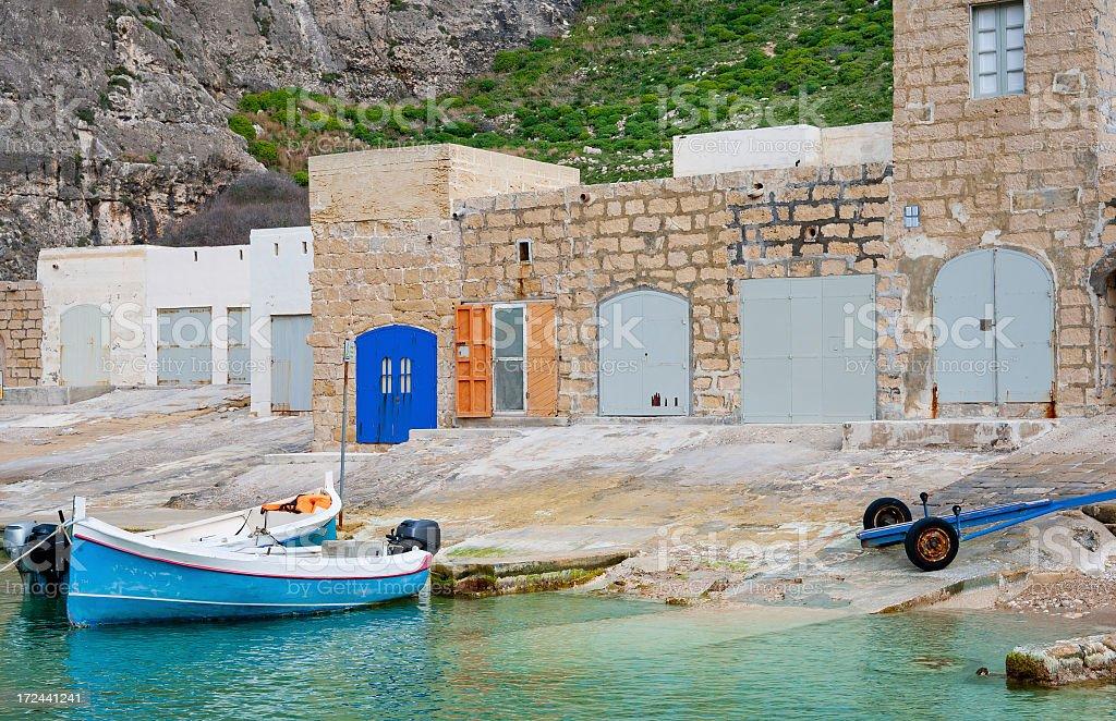 Boat Houses in Malta royalty-free stock photo