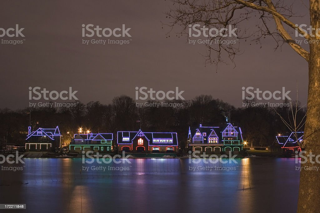 Boat houses in Philadelphia at Christmas royalty-free stock photo