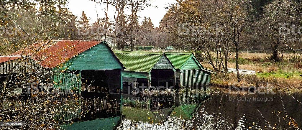 Boat Houses Kinlochard Scotland U.K stock photo