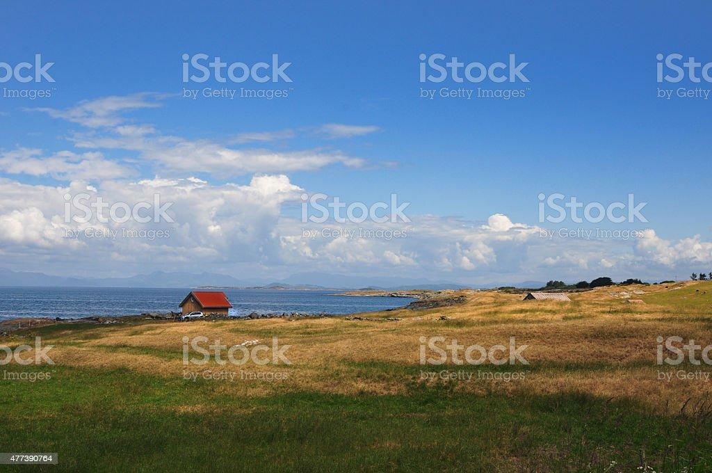 Łódź domy z Stord, Norwegia zbiór zdjęć royalty-free