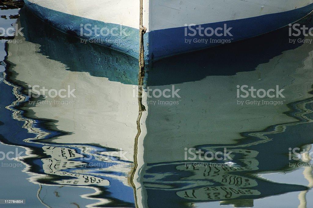 Boat hull reflection royalty-free stock photo