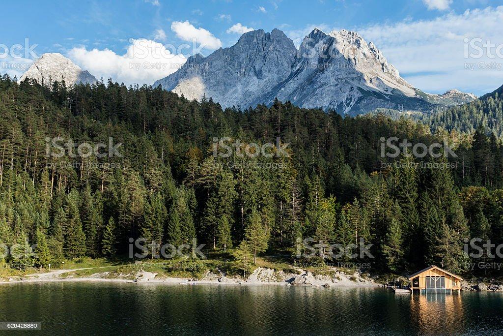 Boat Hut at Tyrolian mountain lake in Austra stock photo