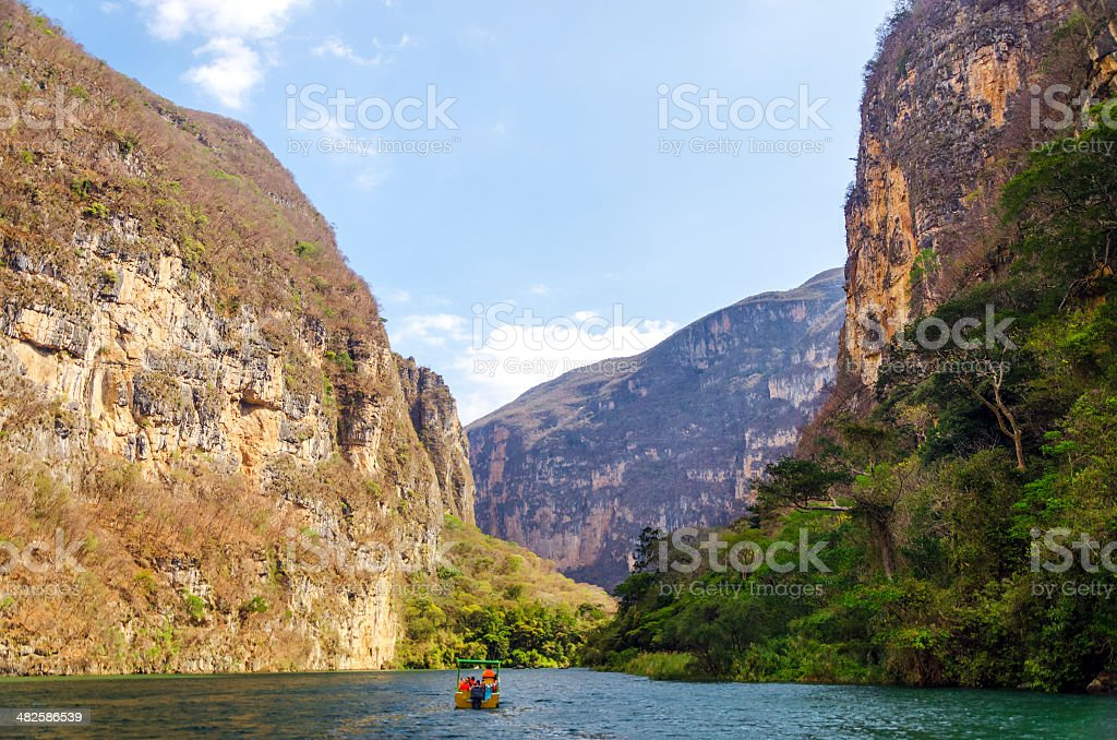 Boat in a Canyon stock photo