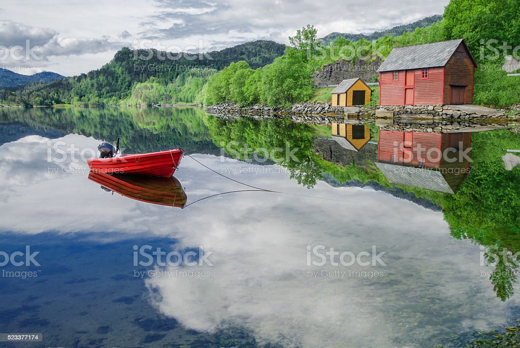 Boat in a Quiet Cove stock photo