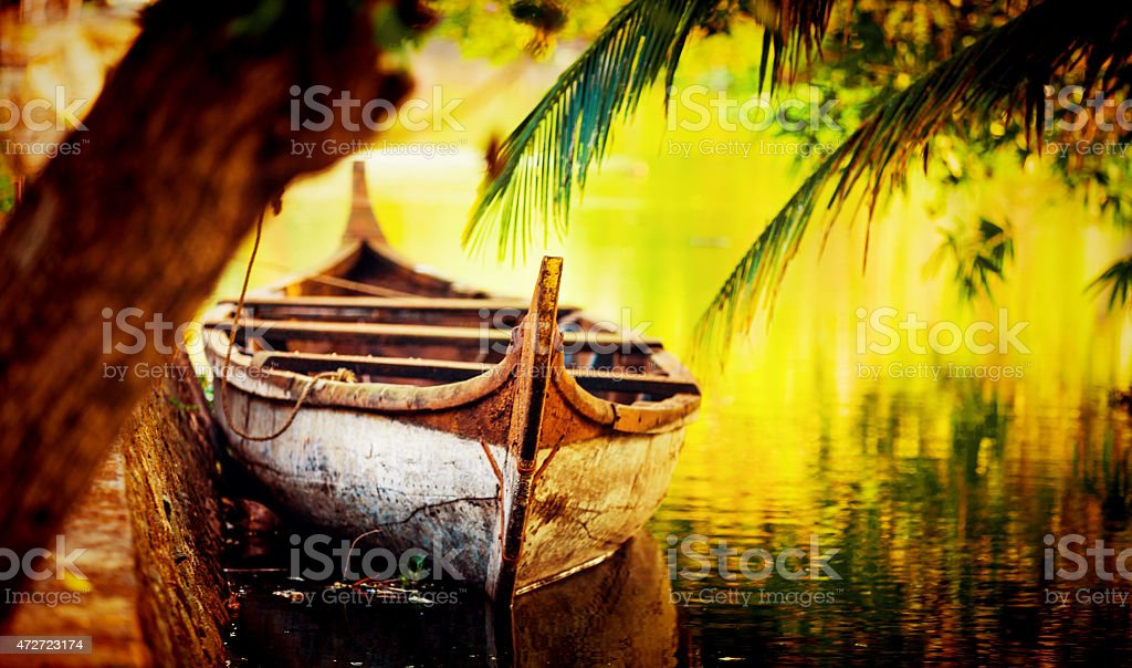 Boat in a small canal of Kerala stock photo