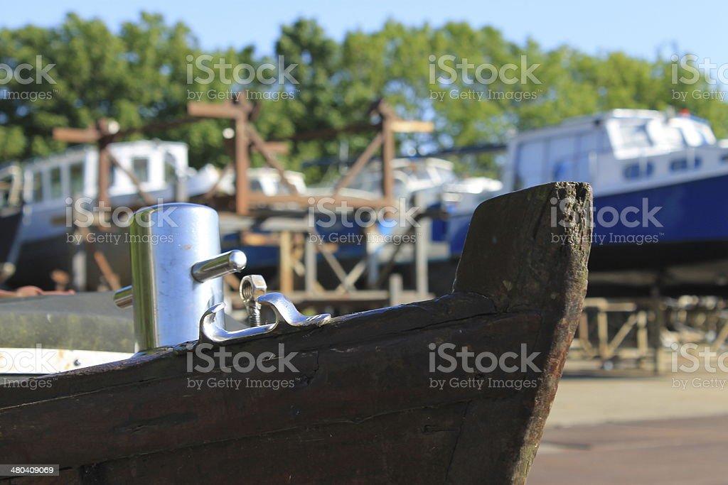 Boat in boatyard stock photo