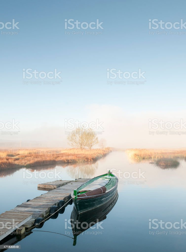 Boat in Cañizar Lake royalty-free stock photo