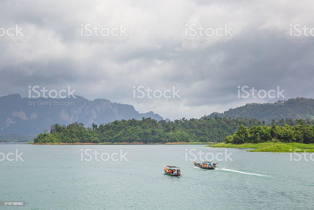 Boat in dam stock photo