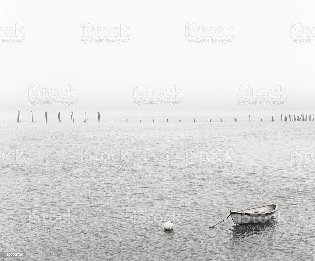 Boat in fog royalty-free stock photo