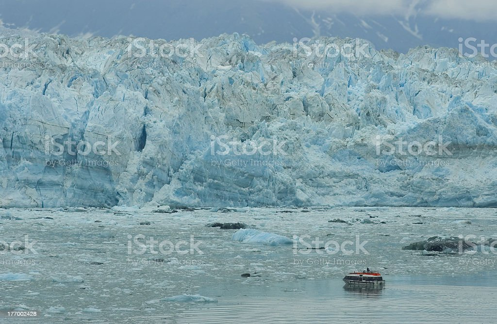Boat in Front of Hubbard Glacier royalty-free stock photo