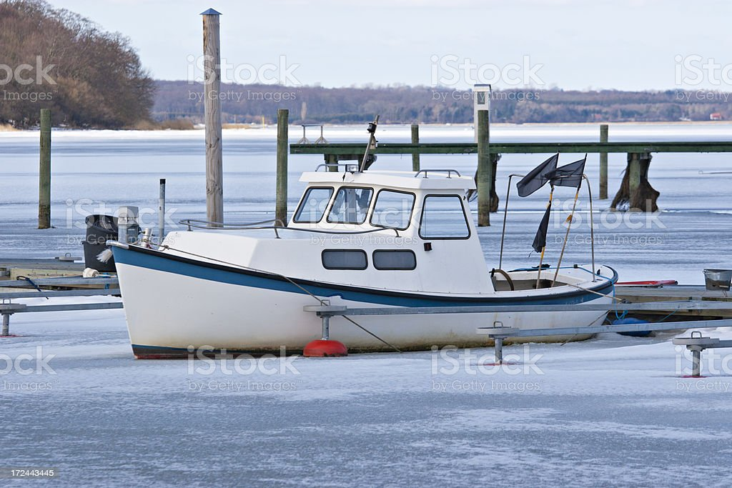 Boat in Frozen Water royalty-free stock photo
